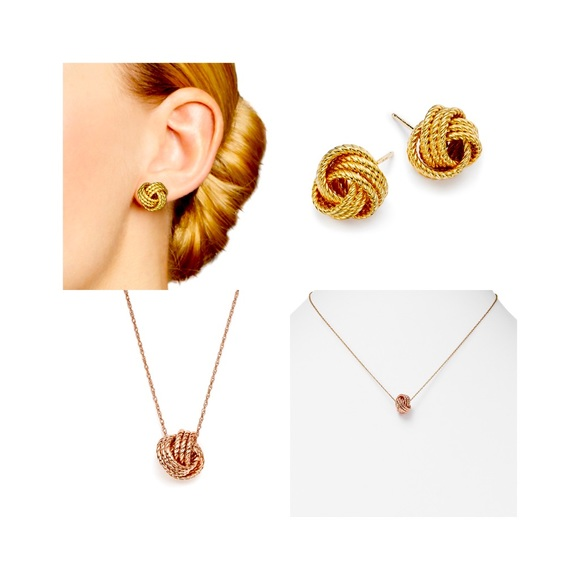 14k gold twisted love knot necklace & earring set